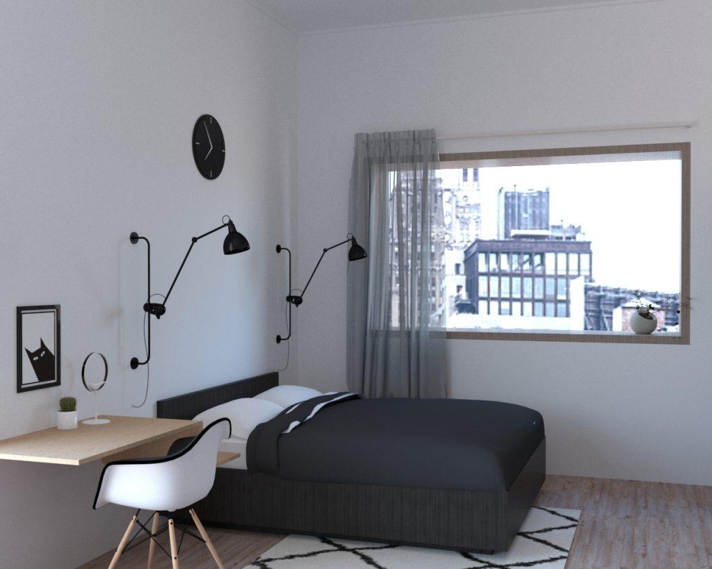 Interior kamar apartemen minimalis dari Scandinaland Interior